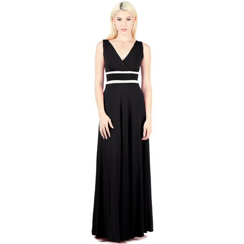 Evanese Women's Plus Elegant Sleeveless Evening Party Formal Long Dress Gown 1X, Black/Cream