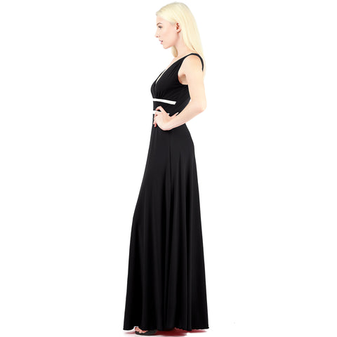 Evanese Women's Elegant Sleeveless Evening Party Formal Long Dress with Contrast S, Black/Cream