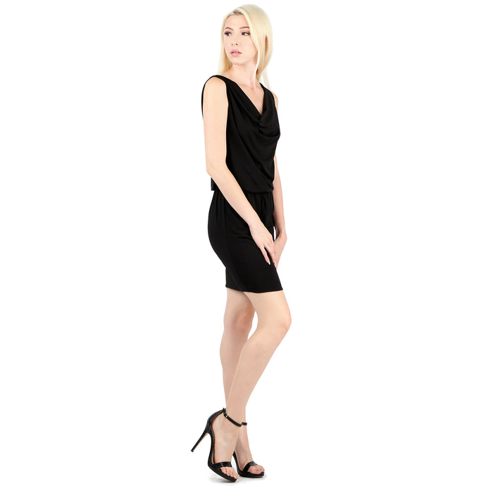 Evanese Women's Sexy Cowl Neck Day Work Weekend Cocktail Dress with Waist String XS, Black