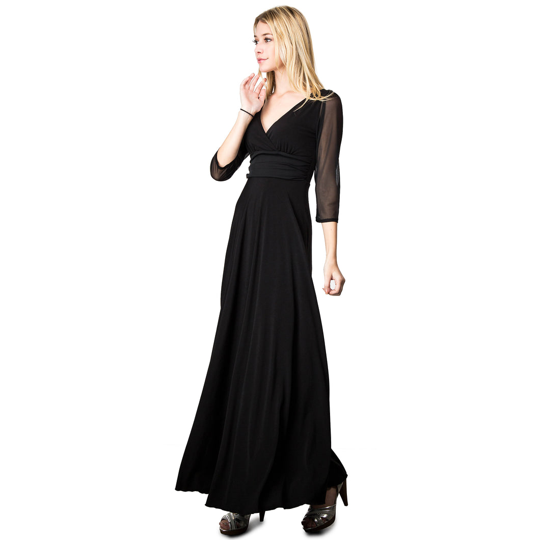 Evanese Women's Slip on Evening Party Formal Long Dress Gown with 3/4 Sleeves XS, Black