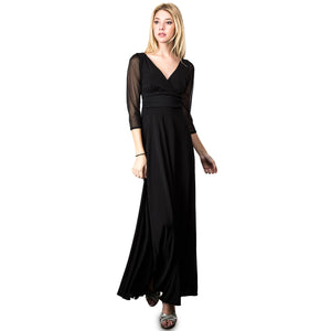 Evanese Women's Slip on Evening Party Formal Long Dress Gown with 3/4 Sleeves S, Black