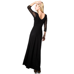 Evanese Women's Slip on Evening Party Formal Long Dress Gown with 3/4 Sleeves M, Black
