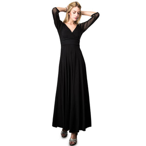Evanese Women's Slip on Evening Party Formal Long Dress Gown with 3/4 Sleeves L, Black