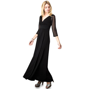 Evanese Women's Slip on Evening Party Formal Long Dress Gown with 3/4 Sleeves XL, Black