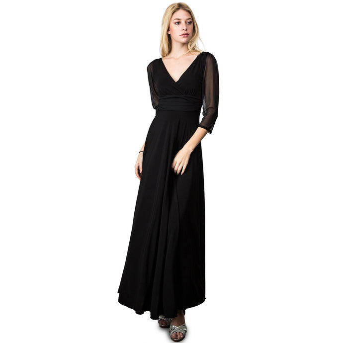 Evanese Women's Plus Size Evening Party Formal Long Dress Gown with 3/4 Sleeves 1X, Black