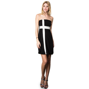 Evanese Women's Cross Color Block Strapless Tube Casual Cocktail Short Dress XS, Black/Cream