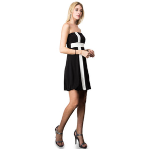 Evanese Women's Cross Color Block Strapless Tube Casual Cocktail Short Dress S, Black/Cream