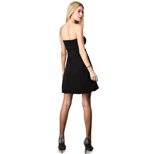 Evanese Women's Cross Color Block Strapless Tube Casual Cocktail Short Dress M, Black/Cream
