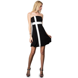 Evanese Women's Cross Color Block Strapless Tube Casual Cocktail Short Dress XL, Black/Cream