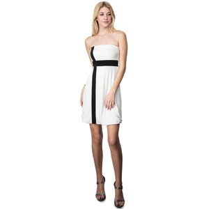 Evanese Women's Cross Color Block Strapless Tube Casual Cocktail Short Dress XS, Cream/Black