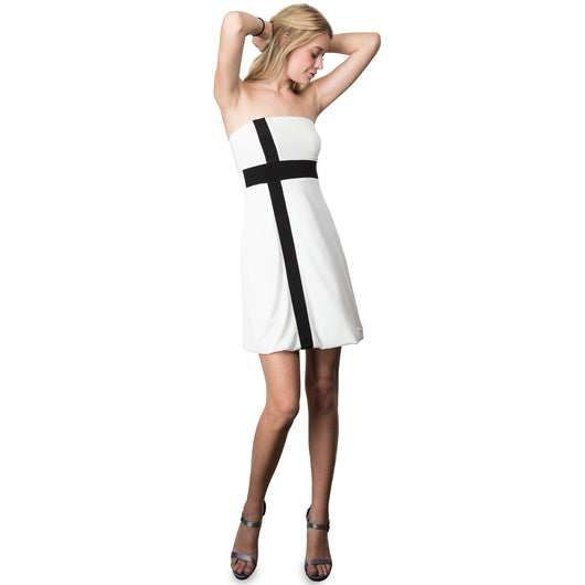 Evanese Women's Cross Color Block Strapless Tube Casual Cocktail Short Dress S, Cream/Black