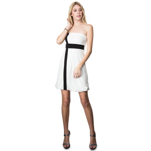 Evanese Women's Cross Color Block Strapless Tube Casual Cocktail Short Dress L, Cream/Black