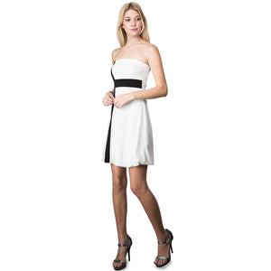 Evanese Women's Cross Color Block Strapless Tube Casual Cocktail Short Dress XL, Cream/Black