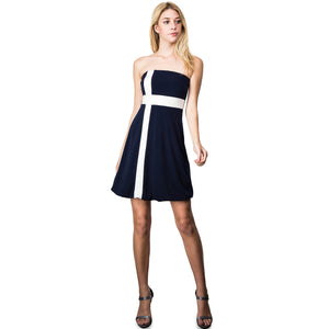 Evanese Women's Cross Color Block Strapless Tube Casual Cocktail Short Dress XS, Navy/Cream