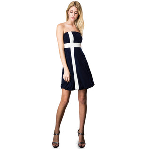 Evanese Women's Cross Color Block Strapless Tube Casual Cocktail Short Dress S, Navy/Cream