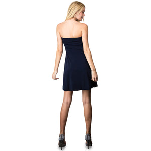 Evanese Women's Cross Color Block Strapless Tube Casual Cocktail Short Dress M, Navy/Cream