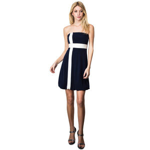 Evanese Women's Cross Color Block Strapless Tube Casual Cocktail Short Dress L, Navy/Cream