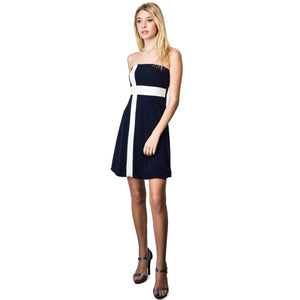 Evanese Women's Cross Color Block Strapless Tube Casual Cocktail Short Dress XL, Navy/Cream