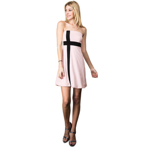 Evanese Women's Cross Color Block Strapless Tube Casual Cocktail Short Dress XS, Pink/Black