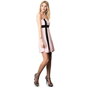 Evanese Women's Cross Color Block Strapless Tube Casual Cocktail Short Dress S, Pink/Black