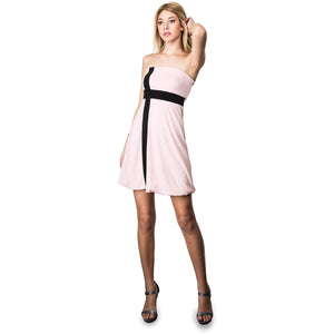 Evanese Women's Cross Color Block Strapless Tube Casual Cocktail Short Dress L, Pink/Black