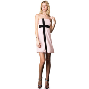 Evanese Women's Cross Color Block Strapless Tube Casual Cocktail Short Dress XL, Pink/Black