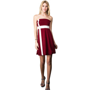 Evanese Women's Cross Color Block Strapless Tube Casual Cocktail Short Dress XS, Wine/Cream