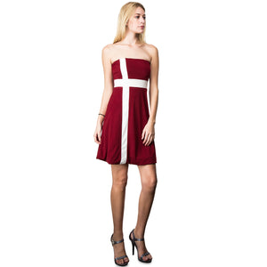 Evanese Women's Cross Color Block Strapless Tube Casual Cocktail Short Dress S, Wine/Cream