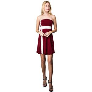 Evanese Women's Cross Color Block Strapless Tube Casual Cocktail Short Dress L, Wine/Cream