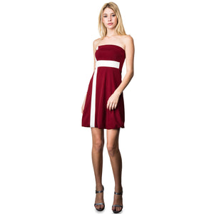 Evanese Women's Cross Color Block Strapless Tube Casual Cocktail Short Dress XL, Wine/Cream
