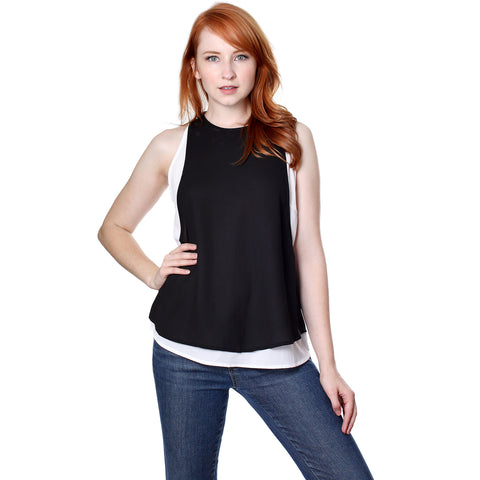 Dance & Marvel Women's Woven Layered Tank Top with X Crossing Band Details - ellemore.com