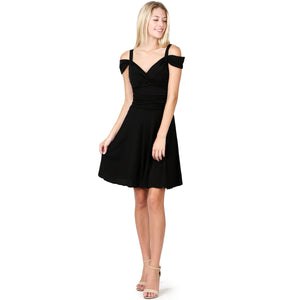 Evanese Women's Elegant Slip On A Line Short Cocktail Dress with Shoulder Bands XS, Black