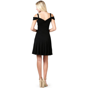 Evanese Women's Elegant Slip On A Line Short Cocktail Dress with Shoulder Bands S, Black
