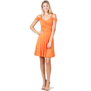 Evanese Women's Elegant Slip On A Line Short Cocktail Dress with Shoulder Bands XS, Orange