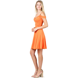 Evanese Women's Elegant Slip On A Line Short Cocktail Dress with Shoulder Bands S, Orange