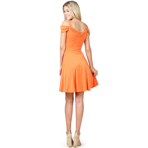 Evanese Women's Elegant Slip On A Line Short Cocktail Dress with Shoulder Bands M, Orange