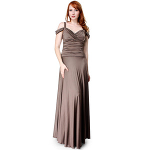 Evanese Women's Glossy Venecia Slip On Long Dress with Shoulder bands - ellemore.com