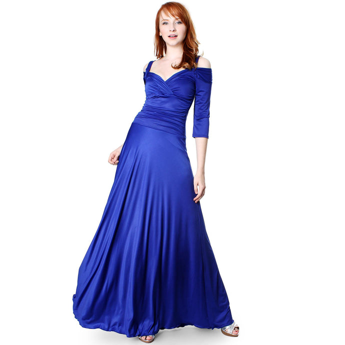 Evanese Women's Shiny Venezia Slip On Long Elegant Dress with 3/4 Sleeves - ellemore.com
