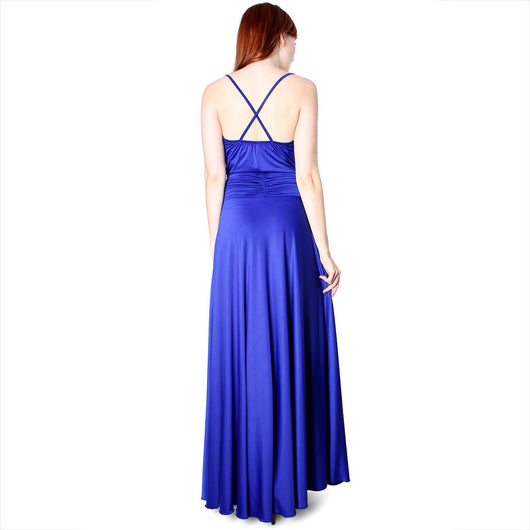 Evanese Women's Shiny Venezian Elegant Cowlneck Long Dress - ellemore.com