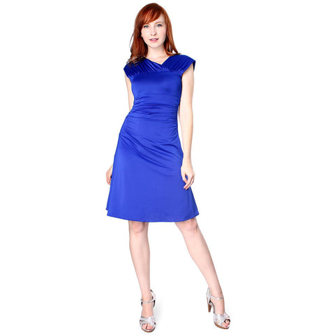 Evanese Women's Elegant Shiny Venezian Short Dress with Wide Shoulder Bands - ellemore.com