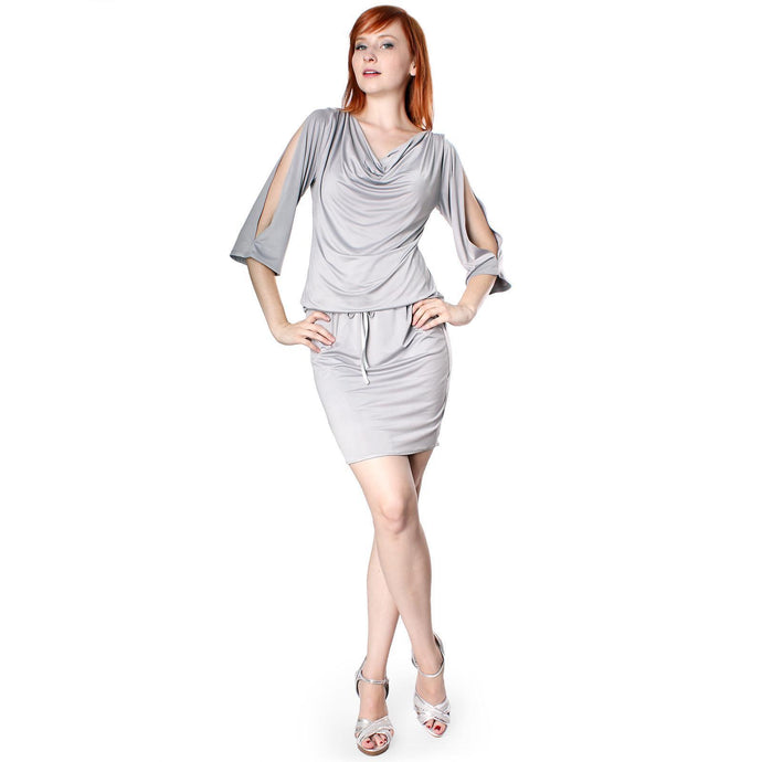 Evanese Women's Shiny Venezian Sexy Cowlneck Dress with Slit-Sleeves - ellemore.com