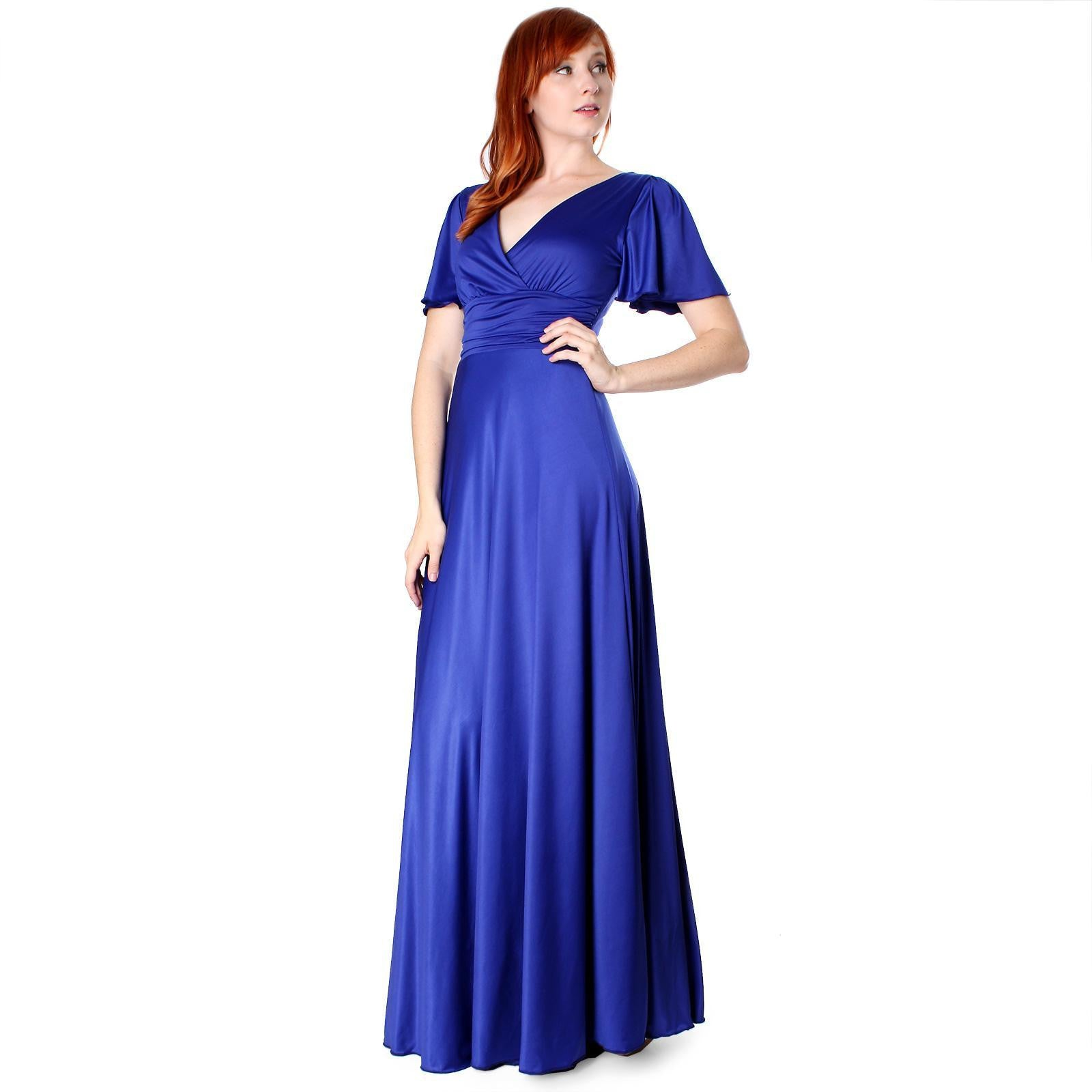 Evanese Women's Shiny Venezian Long Evening Dress with Sleeves - ellemore.com