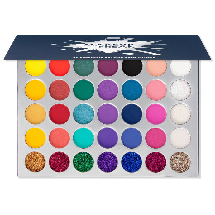Makeup Freak FREEDOM 35 Color Pigmented Eyeshadow Palette with Glitter Summer