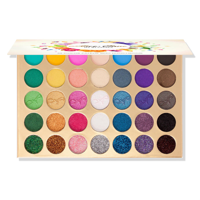Alice+Jane 35 Color High Pigment Eyeshadow Palette with Glitte, Cream & Duochrome In Bloom