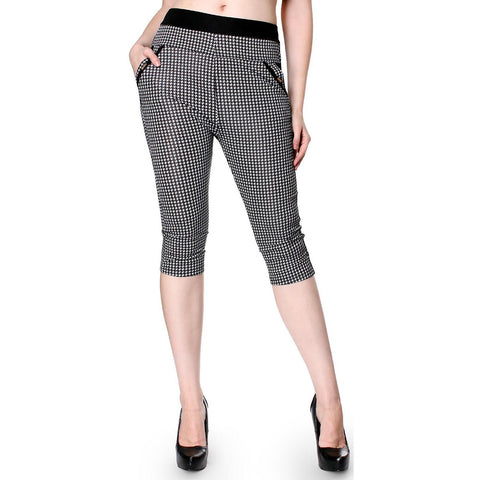 Style Pattern Print Skinny Knee Length Leggings Stretchy Sexy Pencil Pocket Pant - ellemore.com
