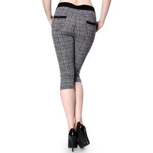 Line Pattern Print Skinny Knee Length Leggings Stretchy Sexy Pencil Pocket Pant - ellemore.com