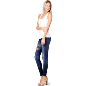 Skinny Cotton Poly One Size Denim Print Jeggings Leggings Stretch Sexy Pencil Pants