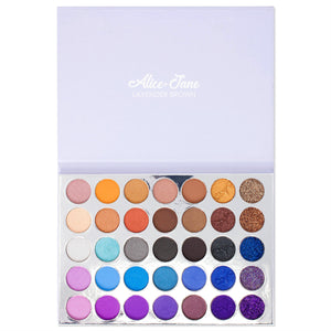 Alice+Jane 35 Color High Pigment Eyeshadow Palette with Glitter and Cream Lavender Brown