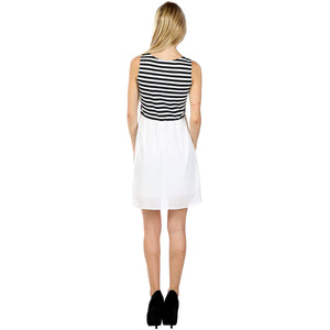 Evanese Women's Curly Chiffon Solid Contrast Pont Stripe Sleeveless Summer Dress - ellemore.com