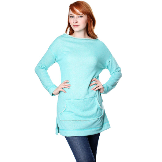 My Beloved Women's Casual Long Sleeves Loose Fit Kangaroo Pocket Boatneck Top - ellemore.com